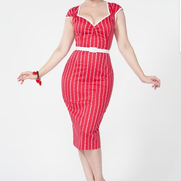 Pinup Couture Dresses & Skirts - NWT Natasha wiggle dress red pinstripe ❤ L